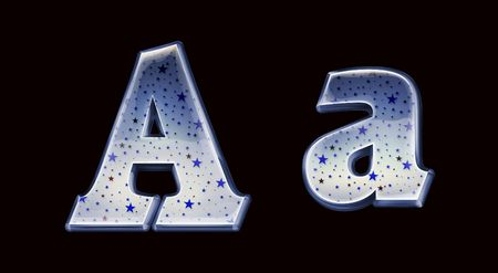 Ultra High quality blue glass alphabet characters with night stars Stock Photo