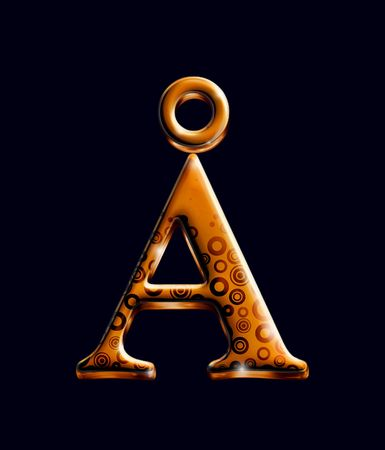 One character from orange metal alphabet collection