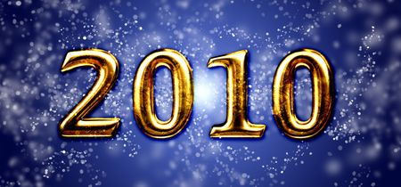 newyears: text 2010 on a blue shiny background