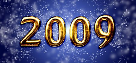 newyears: 2009 on a blue background Stock Photo