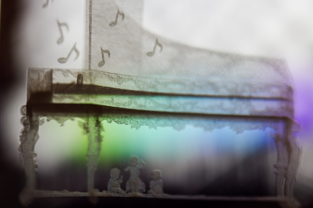Abstract Piano in a Glass Macro Background