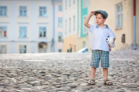 estonia: Portrait of a little 3 years old boy outdoors