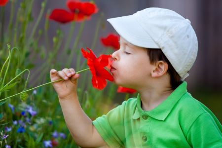 smells: Cute little boy smells a flower