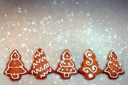Homemade christmas cookies - gingerbread  Christmas card Stock Photo - 16103321