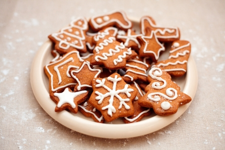 Homemade christmas cookies - gingerbread  All brightly colored cookies  photo