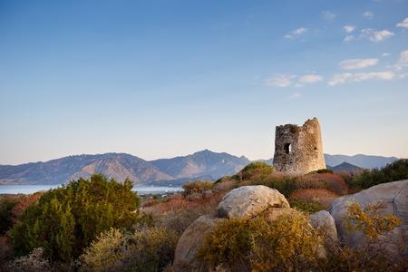 Coastal Tower in Porto Giunco, Villasimius, Sardinia, Italy Stock Photo - 31818888