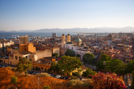 Aerial panorama view of Cagliari Sardinia, Italy Stock Photo
