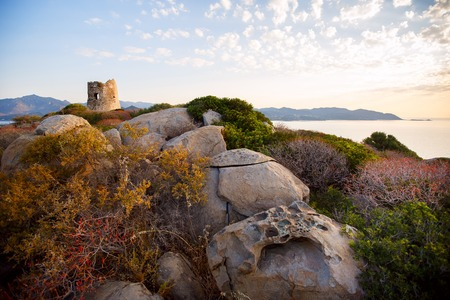 Coastal Tower in Porto Giunco, Villasimius, Sardinia, Italy Stock Photo
