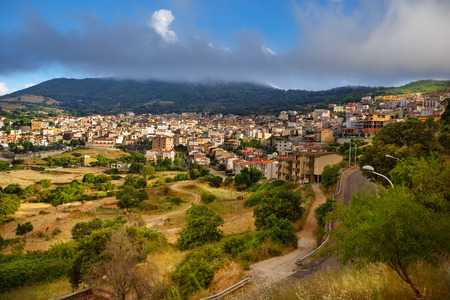 Aerial panorama view of the village Orgosolo, Province of Nuoro, Sardinia, Italy