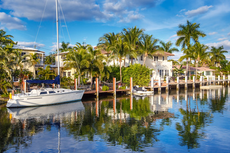 florida landscape: Luxurious yacht and waterfront homes in Fort Lauderdale, Florida