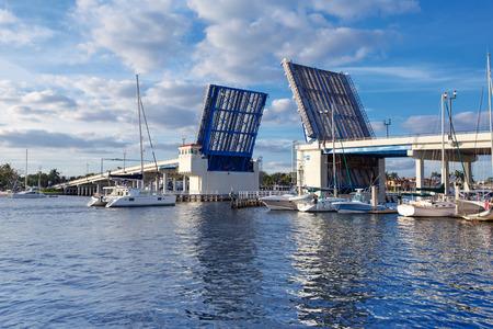 port everglades: Open drawbridge in Fort Lauderdale Bridge , Florida, USA