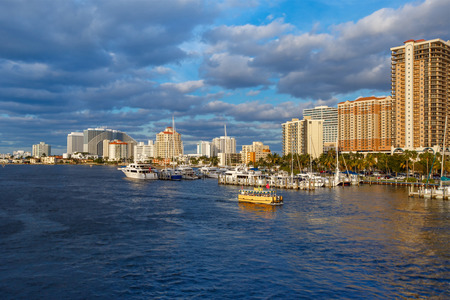 View of the Fort Lauderdale Intracoastal Waterway  on beautiful spring day 写真素材