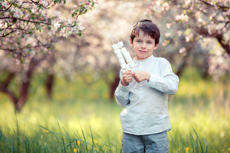 Happy boy with marshmallow on sticks in blooming garden photo