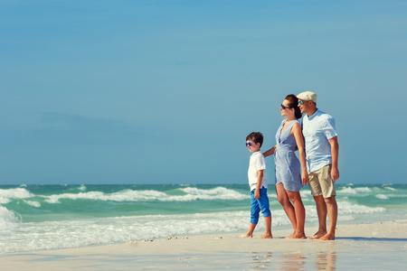 Happy beautiful family on Florida summer holiday vacation photo