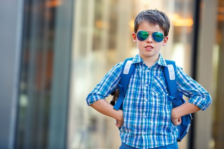 niño con mochila: Retrato de lindo niño de la escuela con la mochila al aire libre