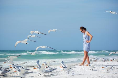 sea beach: Young woman on a beach where seagulls flying - flock of birds, Siesta Key beach, Florida Stock Photo
