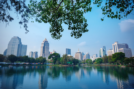 lumpini: Business district cityscape from Central park, Bangkok Thailand Stock Photo