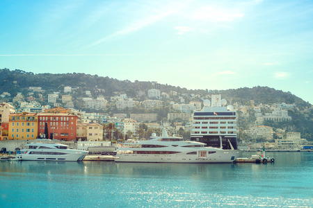 Boats and yachts moored in the port of Nice Stock Photo