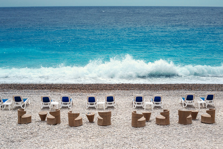 Chairs and tables on Nice beach