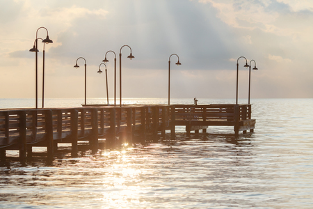 Wooden pier over ocean in the Florida Keys Stock Photo