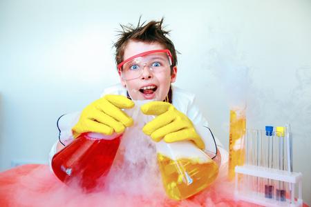 Crazy scientist performing experiments