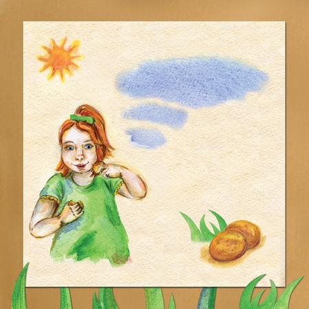 english village: postcard little girl eating cookies. Beautiful watercolor template.