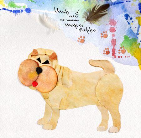 super dog: beautiful abstract handmade postcard with Shar Pei dog