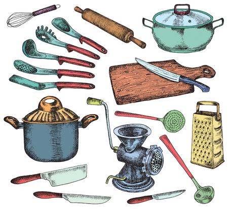 주방 세트. 아름다운 식기 및 주방 용품 일러스트 레이션