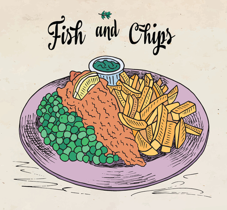 traditional english dish fish and chips. Restaurant menu.