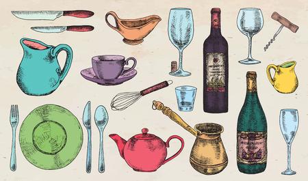 gravy: Kitchenware set. Beautiful tableware and kitchen utensils illustration Illustration