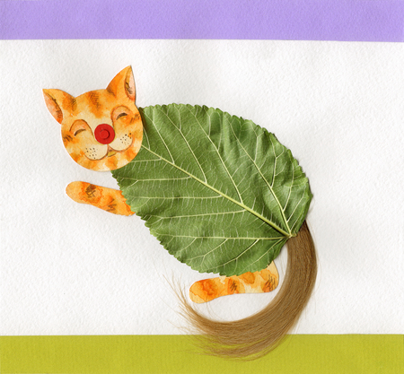watercolour: Little kitten summer funny postcard Stock Photo