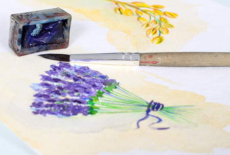 provence: Beautiful photo of watercolor illustration with lavender in provence style Stock Photo