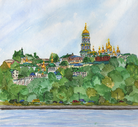 Beautiful watercolor hand drawing illustration of city Kiev in Ukraine