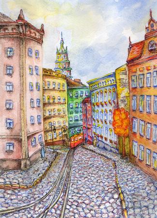 Beautiful watercolor hand drawing illustration of city Lviv in Ukraine Stock Photo