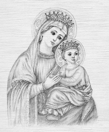 Mooie potloodtekening illustratie voor Pasen. De Heilige Maagd Maria