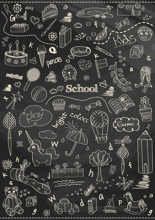 Beautiful chalk drawing childrens school pattern for kids on the blackboard background