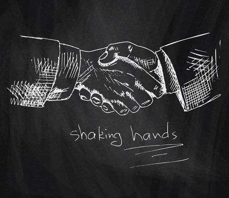business shaking hands chalk illustration on blackboard background