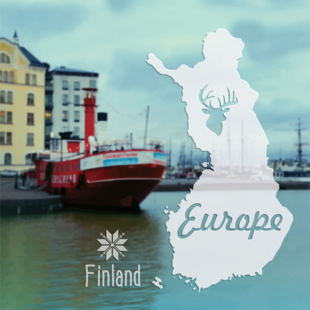 Beautiful summer vector postcard Helsinki capital city of Finland Illustration