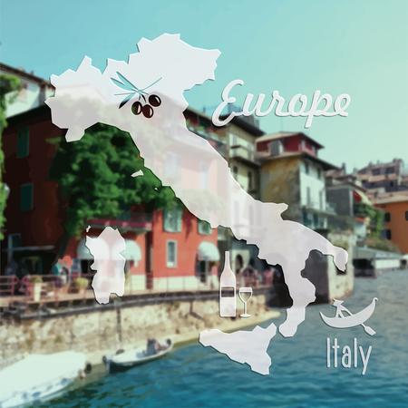 dinghy: Beautiful summer vector postcard Italy Illustration