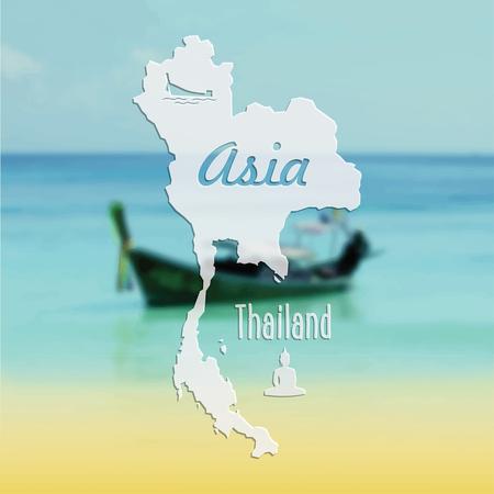 Beautiful summer vector postcard Thailand, south Asia Illustration