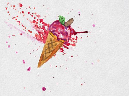 Summer illustration ice cream on the red watercolor splash