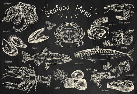 Meeresfrüchte-Menü, Krake, Muscheln, Hummer, Forellen, Muscheln, Makrelen, Krabben, Austern, Garnelen, Garnelen, Tintenfisch, Lachs und mehr.
