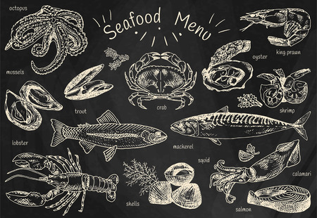 Seafood menu, octopus, mussels, lobster, trout, shells, mackerel, crab, oyster, king prawns, shrimps, squid, salmon, and more.