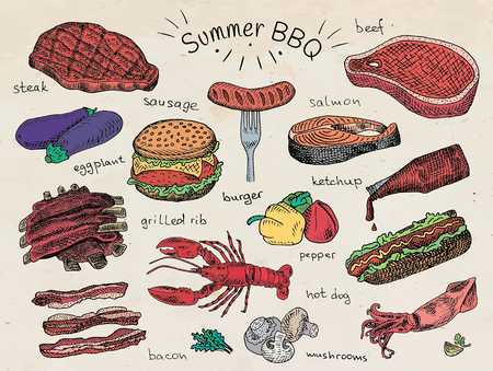 Beautiful illustration summer bbq food, ribs, sausage, beef, steak, eggplant, burger, bacon, vegetables, herbs, mushroom, hot dog, lobster, calamari, squid, ketchup, salmon, pepper Illustration