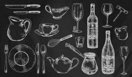 Kitchenware set. Beautiful tableware and kitchen utensils illustration on the chalkboard background Ilustracja