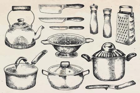 Ensemble de cuisine. Belle vaisselle et ustensiles de cuisine illustration Vecteurs