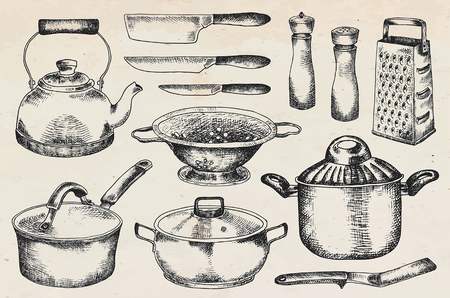 Kitchenware set. Beautiful tableware and kitchen utensils illustration Vettoriali
