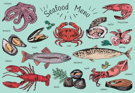 Meeresfrüchte-Menü, Tintenfisch, Muscheln, Hummer, Forelle, Muscheln, Makrele, Krabben, Austern, Garnelen, Garnelen, Tintenfisch, Lachs, Calamari