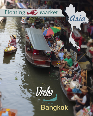 Floating market in Thailand. Tourist area in Bangkok.