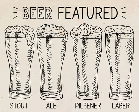 Beer featured. Beautiful illustration of stout, ale, light and lager beer